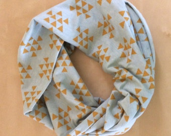 Jersey knit infinity scarf - pistachio green with mustard yellow triangles