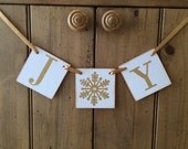 SALE Ready To Ship Joy Gold Christmas Banner and Garland Black Friday Sale - Small Business Saturday - Cyber Monday Sale