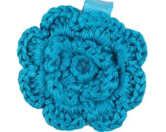 Turquoise Crochet Clip Flower