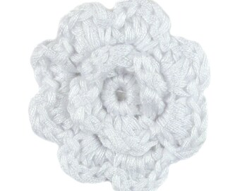 White Crochet Clip Flower