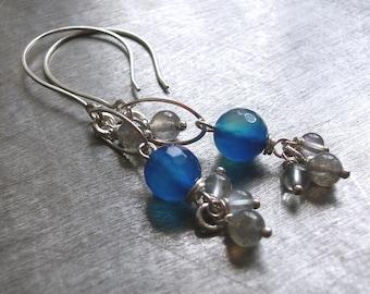 Sterling Silver Gemstone Earrings, Dangle Earrings, Blue Agate, Labradorite, Fluorite, Gemstone Jewelry