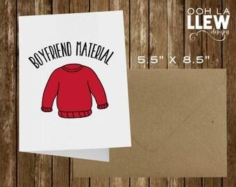 "Funny ""Boyfriend Material"" Valentine or Anniversary Card"