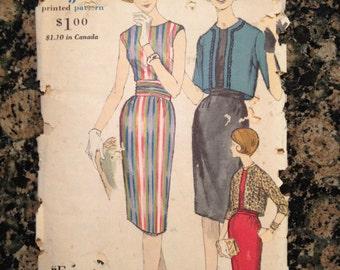 RARE 1950's Vogue Sewing Pattern 5103 Womens Fitted Dress & Short Jkt Size 14 uncut- dress Pattern,Vogue Pattern,1950s Pattern,sheath dress