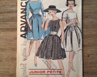 "1950's Advance Sewing Pattern 9758 Misses Full Skirt Dress for Petites 5'1"" under Size 7 uncut- Advance pattern, 1950s dress pattern"