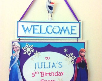 DISNEY FROZEN - Custom Birthday Party Door Sign - Personalize It!