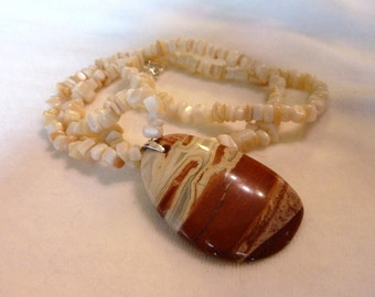 Mother of Pearl Gemstone Pendant Necklace - 26 Inches
