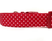 Red White Polka Dot Dog Collar / Red Dog Collar / Red Polka Dot Dog Collar