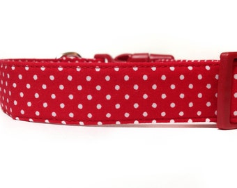 Red White Dog Collar / Polka Dot Dog Collar / Red Dog Collar / Red Polka Dot Dog Collar / Polka Dot Collar