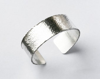 Hammered Cuff Bracelet Modern Sterling Silver with Delicate Frill Edging Adjustable