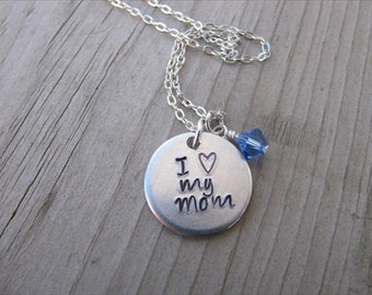 """Mom Necklace """"I (heart) my mom"""" with an accent bead of your choice- Hand-Stamped Necklace"""