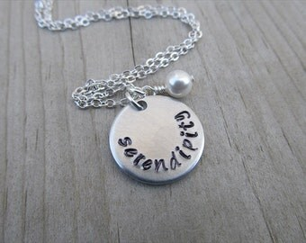 "Serendipity Inspiration Necklace- ""serendipity"" with an accent bead in your choice of colors- Hand-Stamped Jewelry"