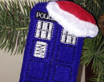 Christmas Police Box Dr. Who Inspired Ornament