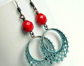 bohemian belle dangle earrings, copper, filigree, boho, red aqua