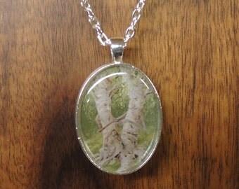 Birch Couple Tree Ents Pendant Necklace