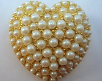 Pearl encrusted heart brooch