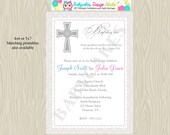 Twins Baptism Invitation Invite siblings pink blue Boy Girl Christening Dedication Communion DIY Printable Digital