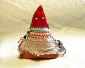 art doll Triangle Red Head  original home decor gift two-sided