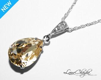 Champagne Crystal Necklace Swarovski Rhinestone Teardrop Necklace Sterling Silver CZ Champagne Necklace Bridesmaid Jewelry Bridal Jewelry