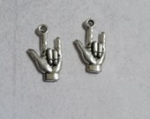 Sign Language Charms Pendants I Love You Sign Language Charms Antiqued Silver 10 pieces