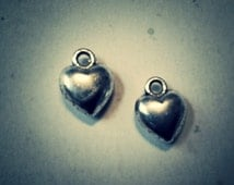 Heart Charms Bulk Charms Antiqued Silver Charms Wholesale Charms 20pcs Puff Heart Charms Valentines Day Love Charms