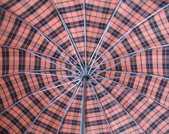 1950's Umbrella, Orange & Black Plaid Rain Parasol