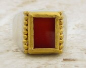 Carnelian Gold Ring, 24k Solid Gold & Sterling Silver Ring, Gemstone Ring