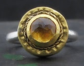 Gold Citrine Ring , 24k Gold & Silver Ring , Round Citrine Ring, Gemstone Ring , Coctail Gold Ring , Solid Gold Ring