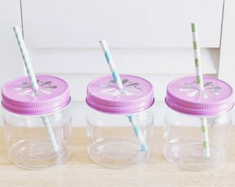 Plastic Mason Jars, 8oz 10 Plastic Mason Jar Cups With Lids, Kids Party, Lemonade Party, Kids Table, Wedding Favors, Baby Shower Favors, USA
