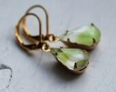 Pear Green Earrings ... Vintage Glass Gems