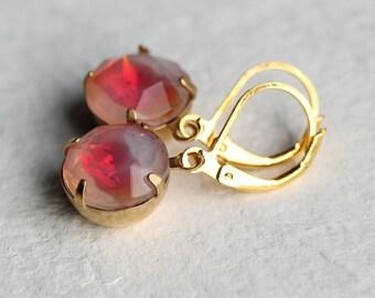 Sunset Pink Opal Earrings ... Glowing Milky Glass Oval Drop Earrings