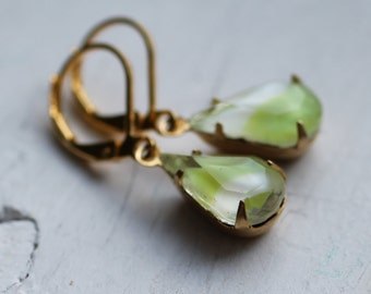Pear Green Earrings ... Vintage Glass Gems