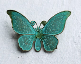 Verdigris Butterfly Brooch ..  Vintage Turquoise Blue Green