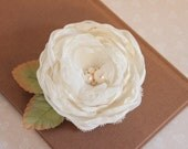 Ivory Fabric flower hairpiece, Floral hair accessory, Rose hair clip, Ivory hair clip, Bridal hairpiece, Romantic flower clip, Fabric flower