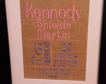 Baby Birth Announcement Embroidered on Burlap
