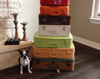 Suitcase Stack of 7 painted in your colors or take just like this