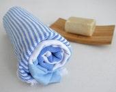 SALE 50 OFF/ Turkish Beach Bath Towel Peshtemal / Marine Style / Blue - White Striped / Bath, Beach, Spa, Swim, Pool Towels