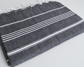Shipping with FedEx - Classic - Beach blanket, Picnic blanket, Sofa throw, Tablecloth, Bedcover - Bathstyle - Black