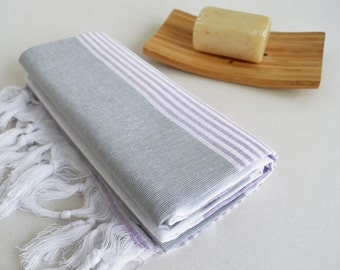 SALE 50% OFF Bathstyle Turkish BATH Towel Peshtemal - Gray - White - Lilac - Beach, Spa, Swim, Pool Towels and Pareo