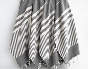 SALE 50 OFF / SET 4 / Turkish Beach Bath Towel / Classic Peshtemal / Dark Gray