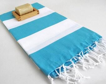 SALE 50 OFF/ Turkish Beach Bath Towel / Classic Peshtemal / Blue White / Wedding Gift, Spa, Swim, Pool Towels and Pareo