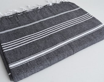 SALE 30 OFF / Classic Blanket / Black / Beach blanket, Picnic blanket, Sofa throw, Tablecloth, Bedcover