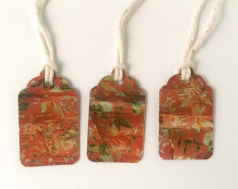 """3 Small Gift Tags  - 1.5"""" x 15/16"""" All Recycled Materials"""