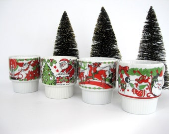 Vintage Christmas Mug Set Stacking Santa Claus Angel Reindeer Festive Design Porcelain Japan
