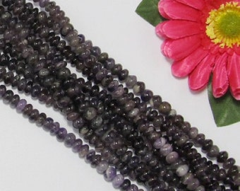 2 Strand Natural Amethyst 5x8mm Rondelle Loose Beads