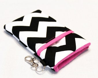 iPhone 7 Wallet Case, Cell Phone Purse, iPhone Plus case, iPhone 6 Case, Lumia 950 Case, Samsung S6 Case , Droid Turbo 2-Black Pink Chevron