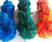 Sari silk yarn. Art Yarn. 3 x 10 yard pack, Knitting yarn. Experiment with mixed colours. Unique ethical art yarn.