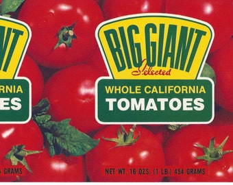 Big Giant Tomatoes Vintage Can Label, 1950s