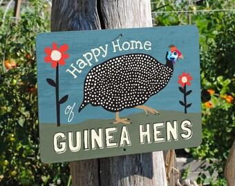"Happy Home of Guinea Hens Sign 12"" x 9"" (blue) SKU: SN129605"
