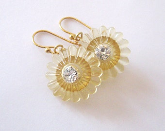 Upcycled Button Earrings, Yellow Flowers, Vintage Lucite Pie Crust Buttons, Rhinestone Centers