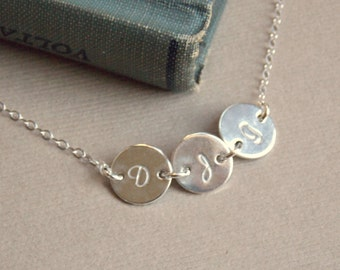 1 2 3 4 5 6 7 8 Initial Disc Personalized Necklace, Tiny Initial Disc Sterling Silver Necklace, Mother Child Necklace, Family Jewelry